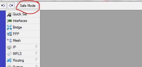 Кнопка safe mode в mikrotik