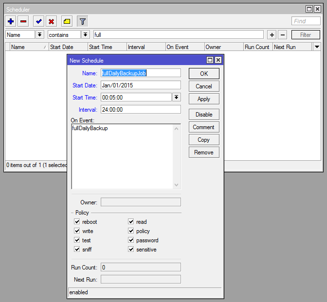 Добавление задачи в планировщике System - Scheduler