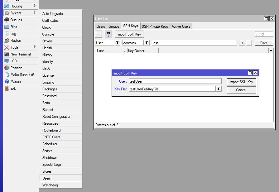 Окно Users вкладка SSH Keys